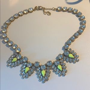 J-Crew Neon Yellow and Crystal Necklace